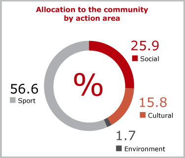 Allocation to the community by action area